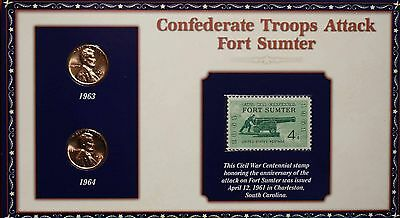 Confederate Troops Attack Fort Sumter 2 Penny & Stamp Set Free S/H
