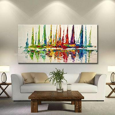 Modern Canvas Painted Abstract Oil Art Painting Boat Ship Sailing Decor No Frame