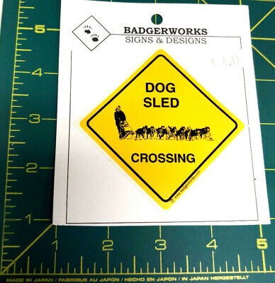 Dog Sled Crossing sticker made to look like yield sign - New & Unused Sticker