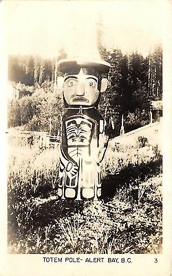 Alert Bay BC Canada~Totem Pole~Funny Face~Forest in Bkgd~Vintage RPPC