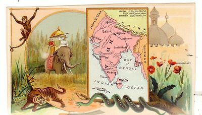 1898 Arbuckle Coffee Trade Card Illustrated Map India Elephant Tiger Snake