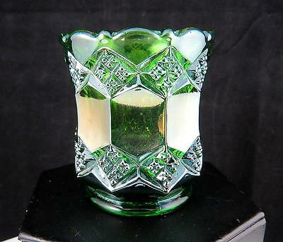 """Imperial 3 In 1 Iridescent Green Helios Carnival Glass 2.5"""" Toothpick 1909-1911"""
