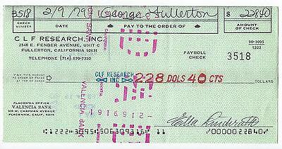 George Fullerton Signed 1979 CLF Research Payroll Check Leo Fender Company 3518