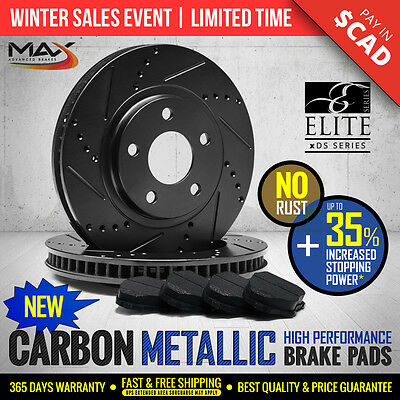 2014 2015 Fits Nissan Murano Black Slotted Drilled Rotor Metallic Pads Rear