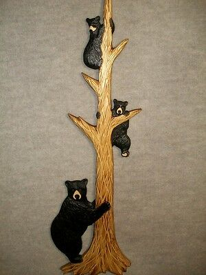 Hand Carved MOTHER BLACK BEAR w/ 2 CUBS up a TREE Wall Art Chainsaw Wood Carving