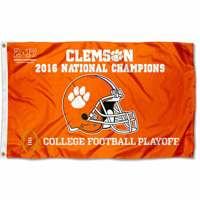 Clemson Tigers National Champions Helmet Flag and Banner