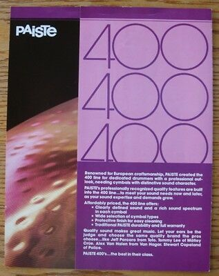 Paiste 400 Series Pamphlet FREE SHIPPING!!
