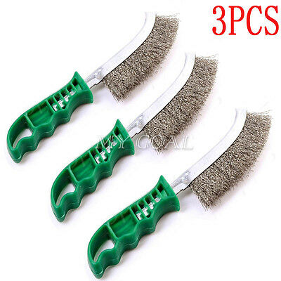 3x Heavy Duty Spid Wire Hand Brushes Stainless Steel Bristles Rust Paint Removal