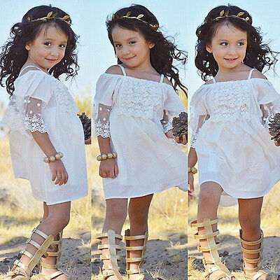 2-7Year Kid Baby Girls Lace Tutu Dress Princess Party Wedding Pageant Dresses UK