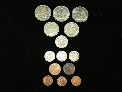 New Zealand 1968 to 1977 Coins x14 Including 10 cent 1968 Butterfly