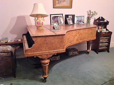 John Brinsmead burr walnut boudoir grand piano
