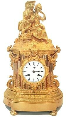 Antique French Bronze Ormolu Mantel Clock