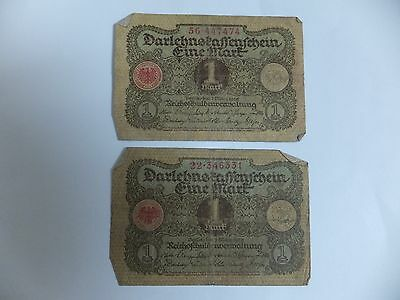 German Banknotes - Two One Mark banknotes note 1920