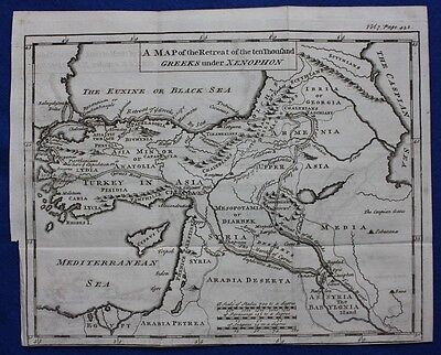 Original antique map ANCIENT ASIA MINOR, 'RETREAT OF XENOPHON', 1747