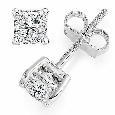 2 ct Princess Cut Solitaire Stud Earrings Diamond 14k White Gold Fn. Screw Back