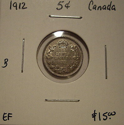 B Canada George V 1912 Silver Five Cents - EF
