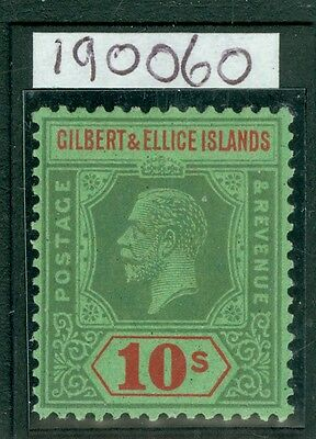 SG 35 Gilbert and Elice 1922 10/- Green & red/emerald fine unmounted mint