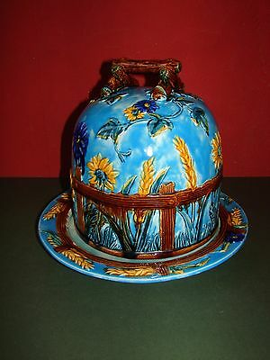 Very Large Majolica Cheese Dish with Dome