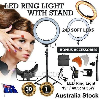 """240 LED Ring Lighting Light Halo - Dimmable 49cm 19"""" 55W Mirror Beauty Kit Stand"""