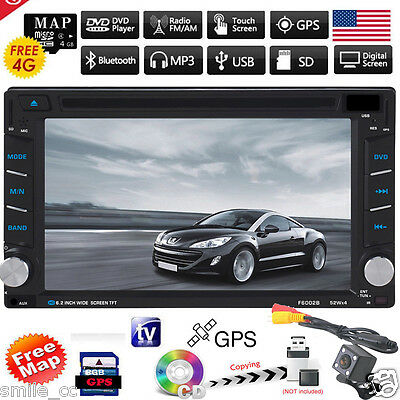GPS Navigation HD Double 2 DIN Car Stereo CD DVD Player Bluetooth Radio Camera