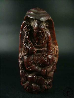 Large Antique Chinese Bamboo Root Carved Statue GOD OF LONGEVITY AUSPICIOUS