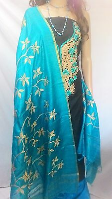 RIAA Indian Pakistani Bollywood Salwar Kameez Designer Kota Silk Embroidery Suit