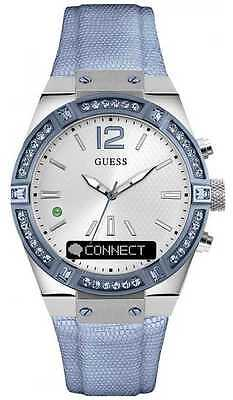 Guess CONNECT Womens Silver Dial Stone Set Blue C0002M5 Watch - 19% OFF!