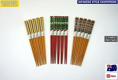 5 pairs Japanese Style High Quality Bamboo Chopsticks (4 Patterns) NEW