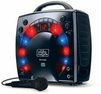 Kids Karaoke Party Singing Machine And 3 CDGs Disco light effect Black Portable