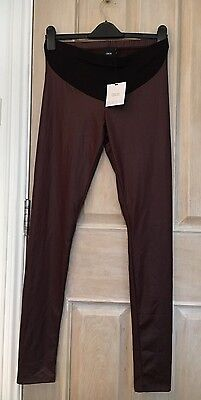 ASOS Size 8 Maternity Leggings. Brown Wet Look. New With Tags!