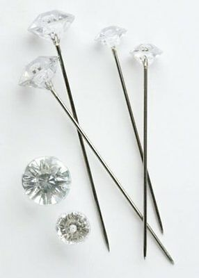 100 x 40mm CLEAR ACRYLIC DIAMANTE  PINS FOR CORSAGE'S, BUTTON HOLES ETC