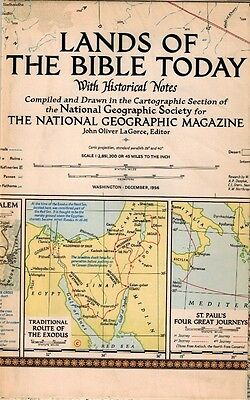 1956 LANDS OF THE BIBLE  MAP Middle East Jerusalem Palestine National Geographic