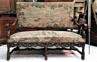 A Simply Exquisite Highly Carved French Baroque Sofa With Beautiful Tapestry