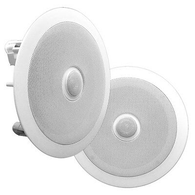 "Pyle Home 6.5"" Pair Of 2-Way In Ceiling Wall HiFi Speakers Flush Mount White"