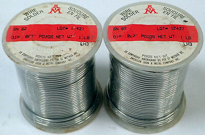 "American Iron & Metal Lot/2 Sn62 Fluxless Solid Solder Wire .062"" Dia. 1Lb New"