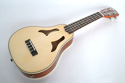 Clearwater High Gloss Soprano Ukulele  Vita Electro Acoustic Solid Top With Stra