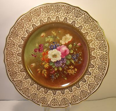 "Superb Cauldon Hand Painted Floral And Gilded 9"" Cabinet Plate (Signed Eyre?)"