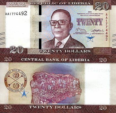LIBERIA 20 Dollars Banknote World Paper Money UNC Currency Pick p-New 2016 Bill