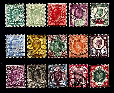 A nice set (12 used 3 unused) King Edward VII stamps 1/2d to 1/-  Cat  over £275