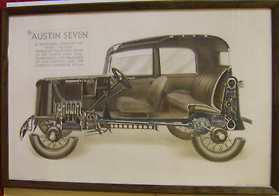 Austin 7 Seven Ruby Cutaway original FRAMED Showroom Poster Austin Pub. No. 1278