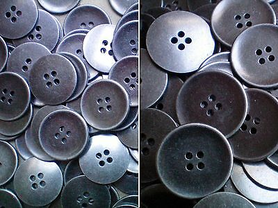 20mm 25mm Aged Silver Effect Metal 4 Hole Industrial Jacket Buttons (MB28-MB29)