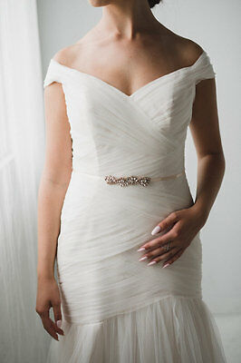 ROUGE PETITE Rose Gold Rhinestone Flower Diamante Bridal Sash Belt