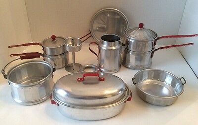 VTG Childs Aluminum Toy Large Lot Pots and Pans Double Boiler Red Handle ✔️
