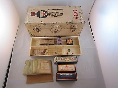 Vintage VEAC Metal First Aid Box, Red Cross Bandage Gauze Cotton Lot, Pins, etc.