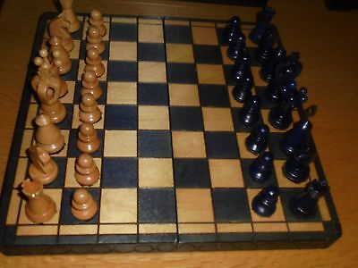 Vintage Chess Set And Board Hand Made Wooden Travel Set