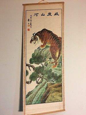 Chinese Asian Style Roll Up Wall Hanging Tiger Art On Bamboo