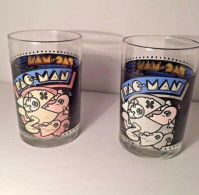 Pac Man Glasses Glass Lot of 2 1980 Arby's Bally
