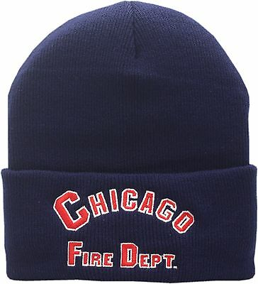 ac2c69746b925 Chicago Fire Department Cuffed Knit Hat Arched Logo As Seen On TV 13373