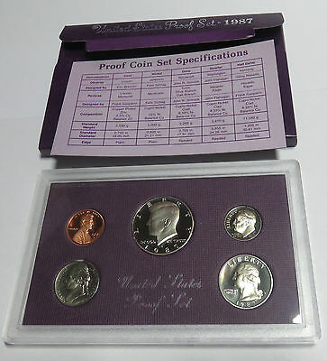 Usa America United States Kms Coinset Proof Set 1987 1 Dime - Half Dollar S Pp