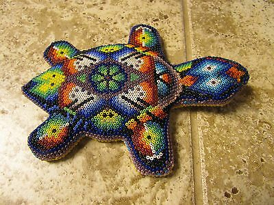 Plains Indian Beaded Turtle Native American Fetish Artifact Relic on Wood